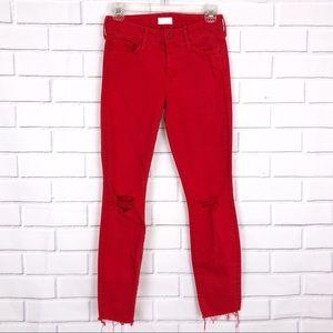MOTHER Looker Ankle Fray Jeans Sz 25 Firecracker